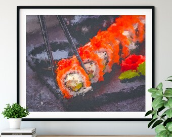Sushi Print - Sushi Roll Oil Painting Poster, Kitchen Wall Art, Chef Gift, Restaurant Wall Decor, Dining Room Decor, Foodie Art, Cook Gift