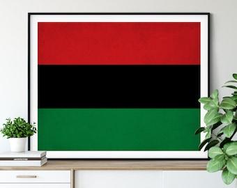 Pan African Flag Print, Black Rights Flag, African American Flag Art, Black Pride Flag, Black Rights Art, Black Rights Poster, Liberation