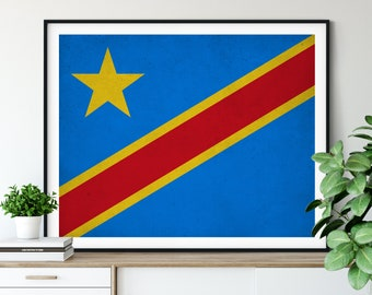 Democratic Republic of Congo Flag Art, Flag Print, Flag Poster, Flag Painting, Country Flags, Africa Poster, African Gifts, Housewarming