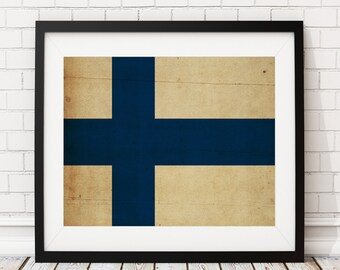 Finland Flag Art, Finland Flag Print, Flag Poster, Country Flags, Finland Poster, Wall Art, Helsinki, Finnish Flag, Flag Painting, Gifts