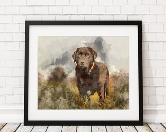 Chocolate Lab Watercolor Print - Chocolate Lab Painting Dog Watercolor Painting Watercolor Art Print Home Decor Dog Wall Art Dog Lover Gift