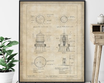 Point Reyes Lighthouse Elevation Print - Lighthouse Art, Architectural Drawing, Nautical Wall Decor, Coastal Print, National Seashore, Gift