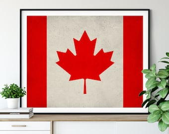 Canada Flag Art, Canadian Flag Print, Flag Poster, Country Flags, Wall Art, Canada Poster, Wall Decor, Canadian Gifts, Flag Painting,