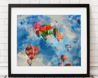 Hot Air Balloon Print, Hot Air Balloon Art, Hot Air Balloon Decor, Watercolor Painting, Nursery, Fun Art, Colorful Wall Art, Gifts for Her