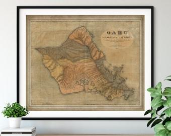 1899 Oahu Map Print, Vintage Map Art, Antique Map, Old Map, Oahu Map Art, Oahu Gift, Oahu Print, Oahu Art, Honolulu, Diamond Head, Hawaii