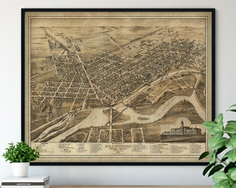 1875 Brantford Ontario Birds Eye View Print - Vintage Map Art, Antique Street Map Print, Aerial View Poster, Historical Art, Canada Wall Art