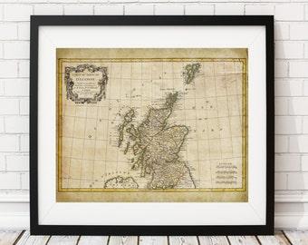 1772 Scotland Map Print, Vintage Map Art, Antique Map, Wall Art, Gift, Old Maps, Scotland Art, Scotland Print, Map of Scotland, Scottish