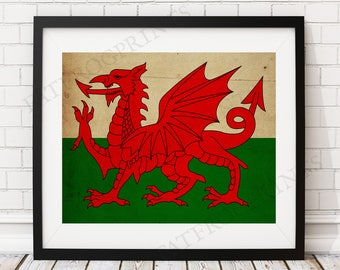 Wales Flag Print, Wales Flag Art, Wales Gifts, Antique Flag Poster, Moving Gift, Vintage Flag Wall Art, Wales Art, UK, United Kingdom
