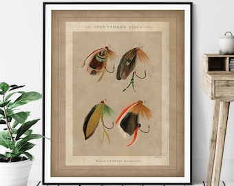 1892 Antique Trout & Bass Fishing Flies Print - Vintage Fish Art, Gifts for Men, Angling Fish Art, Fish Print, Fisherman Gift, Lures Fisher