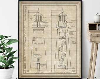 Point Isabel Lighthouse Elevation Print - Historic Lighthouse Art, Architectural Drawing, Nautical Wall Decor, Texas Coastal Print, Gift