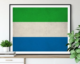 Sierra Leone Flag Print, Sierra Leone Flag Art, Flag Poster, African Flag Wall Art, Moving Gifts, Industrial Wall Decor, Living Room Art