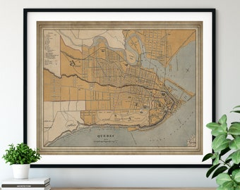 1915 Quebec Map Print, Vintage Map Art, Antique Map, Wall Art, Old Maps, Quebec Print, Quebec Art, Quebec Canada Gifts, Quebec City Map