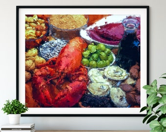 "Lobster Print - ""Feast"" - Seafood Oil Painting Poster, Kitchen Wall Art, Chef Gift, Restaurant Wall Decor, Dining Room Decor, Foodie Gift"