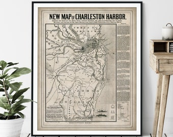 1863 Charleston Harbor Naval Contest Map Print - Vintage Civil War Battle Map Art, American History Gift, Antique Navy Map Wall Art, Old Map