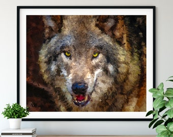 Wolf Print, Gray Wolf Art, Wildlife Oil Painting Print, Grey Wolf Wall Art, Close Up Animal Portrait, Wolves Wall Decor, Living Room Bedroom
