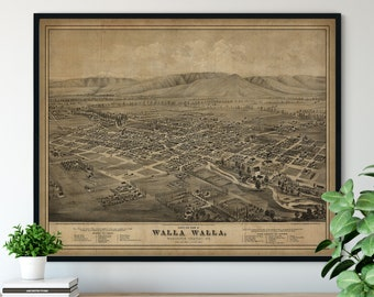 1876 Walla Walla Washington Birds Eye View Print - Vintage Map Art, Antique Street Map Print, Aerial View Poster, Historical Wall Art