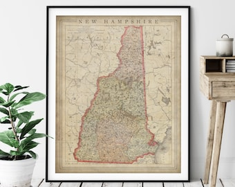 1897 New Hampshire Map Print, Vintage Map Art, Antique Map, Old Map, County Map Wall Art, State Map, New Hampshire Art, New Hampshire Print