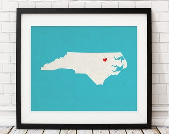 Custom North Carolina Art, Personalized NC State Art, Customized State Map Art, Heart Map Print, North Carolina Map, North Carolina Print