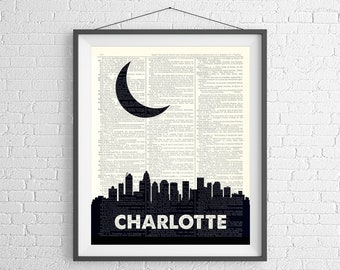 Charlotte Skyline Print, Charlotte NC Prints, Charlotte Skyline Wall Art, Dictionary Art Print, City Prints, City Skyline Art, Moving Gift