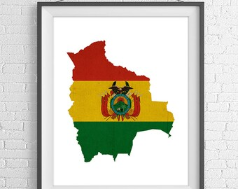 Bolivia Flag Map Print, Bolivian Flag, Bolivia Map, Sucre Bolivia Silhouette, Moving Gift, Housewarming Gift, Vintage Flag Poster, Wall Art