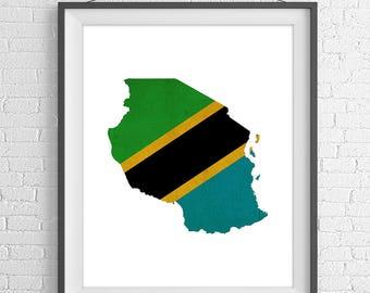 Tanzania Flag Map Print, Tanzania Map, Tanzania Silhouette, Housewarming Gift, Vintage Flag Poster, Map Wall Art, Map of Tanzania, African