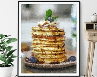"Pancakes Print -""The Stack"" - Flap Jacks, Oil Painting Poster, Kitchen Wall Art, Breakfast Nook Wall Decor, Abstract Food Artwork, Cafe Art"