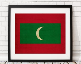 Maldives Flag Art, Maldives Flag Print, Flag Poster, Country Flags, Flag Painting, Maldives Flag Poster, Gift Ideas, Housewarming Gift