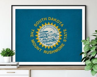 South Dakota Flag Art, South Dakota Flag Print, Flag Poster, SD State Flag, Vintage Flag Painting, Housewarming Gift, South Dakota Art