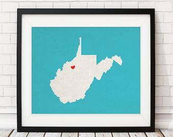 Custom West Virginia State Art, Customized State Map Art, Personalized, West Virginia Art, Heart Map, West Virginia Map, West Virginia Print