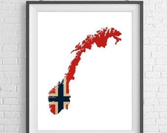 Norway Flag Map Print, Norway Map, Norway Silhouette Art, Norway Poster, Norway Wall Art, Map of Norway, Norwegian Flag, Norwegian Art