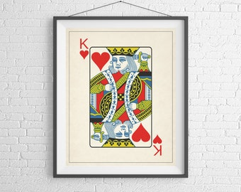 King of Hearts, Playing Card Art, Game Room Decor, Game Room Art, Poker Gifts, Gambling Gift, Vintage Wall Art, Man Cave Art, Bar Decor