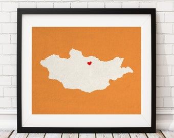 Custom Mongolia Silhouette Print, Customized Country Map Art, Personalized Gift, Mongolia Art, Mongolia Print, Heart Map, Mongolia Map, Love