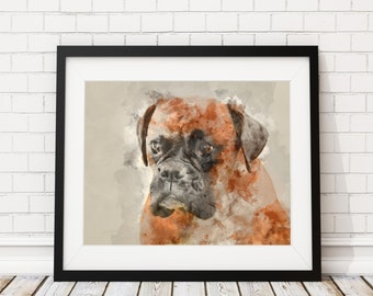 Boxer Watercolor Print - Boxer Painting - Boxer Watercolor Painting - Boxer Watercolor Art Print - Home Decor Dog Wall Art- Dog Lover Gift