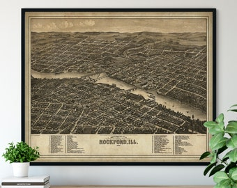 1880 Rockford Illinois Birds Eye View Print - Vintage Map Art, Antique Street Map Print, Aerial View Poster, Historical Art, IL Wall Art