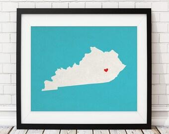 Custom Kentucky State Art, Customized State Map Art, Personalized Gift, Kentucky Art, Heart Map, Kentucky Map, KY Love Map, Kentucky Print