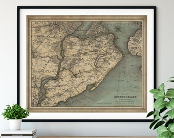 1893 Staten Island New York Map, Vintage Map Art, Antique Map Print, Staten Island Map, Old Map, New York Wall Art, Richmond County NY, Gift