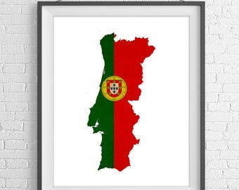 Portugal Flag Map Print, Portugal Map, Portugal Silhouette, Housewarming Gift, Poster, Portuguese Wall Art, Map of Portugal, Portugal Art