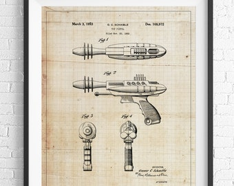 Toy Gun Patent Print, Game Room Art, Toy Art, Blueprint, Vintage Patent Poster, Toy Pistol Patent, Kids Room, Boys Room Wall Art, Industrial