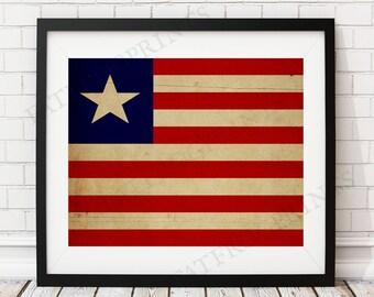 Liberia Flag Print, Liberia Flag Art, Liberia Gifts, Flag Poster, Moving Gift, Vintage Flag Wall Art, Liberian Art, Liberian Flag