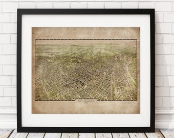 1909 Los Angeles Map, Vintage Map Art, Antique Map Print, Map of Los Angeles, Old Map, Los Angeles Print, California, Los Angeles Art