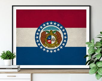 Missouri Flag Art, Missouri Flag Print, Missouri State Flag Poster, Missouri Poster, Patriotic Gifts, Missouri State Pride, Living Room Art