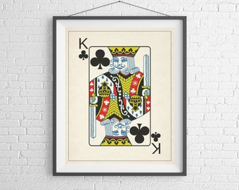 King of Clubs, Playing Card Art, Game Room Decor, Game Room Art, Poker Gifts, Gambling Gift, Office Wall Art, Man Cave Art, Bar Decor