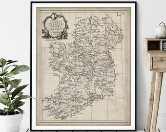 1795 Irish Surname Map Print - Vintage Ireland Map Art, Antique Family Last Name Map, Old Genealogy Poster, Irish Clans Sept Wall Art, Gift