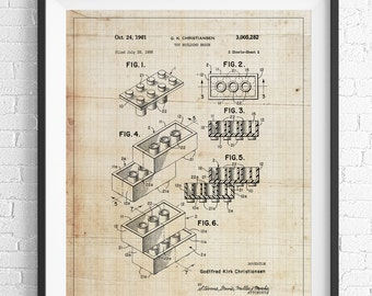 Lego Patent Print, Game Room Art, Toy Art, Game Room Wall Art, Blueprint, Vintage Patent Poster, Geek Gifts, Boys Room Art, Nerd Gifts
