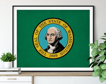 Washington Flag Art, Washington Flag Print, Washington State Flag Poster, Vintage Flag, Washington Art, Washington Gift, Home Office Art