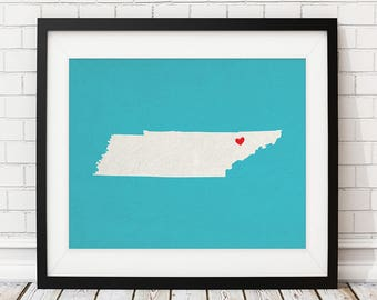 Custom Tennessee State Art, Customized State Map Art, Personalized Gift, Tennessee Art, Heart Map, Tennessee Map, Love Map, Tennessee Print