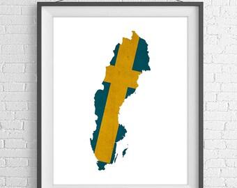 Sweden Flag Map Print, Sweden Map, Sweden Silhouette, Sweden Poster, Map of Sweden, Swedish Flag Wall Art, Swedish Gifts, Swedish Art