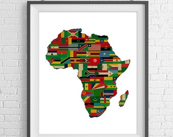 African Continent Print, Africa Flags, Africa Map, African Map, African Flags, African Gifts, Map of Africa, African Art, Africa Silhouette