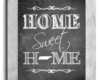 Tennessee Art, Home Sweet Home Print, State Print, State Art, Map Art, Map Print, Chalkboard Print, Hallway Art, Housewarming Gift Idea