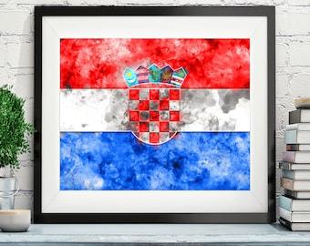 Croatia Flag Art, Croatia Flag Print, Flag Poster, Country Flags, Watercolor Painting, Watercolor Flag, Poster, Croatian Gifts, Wall Art